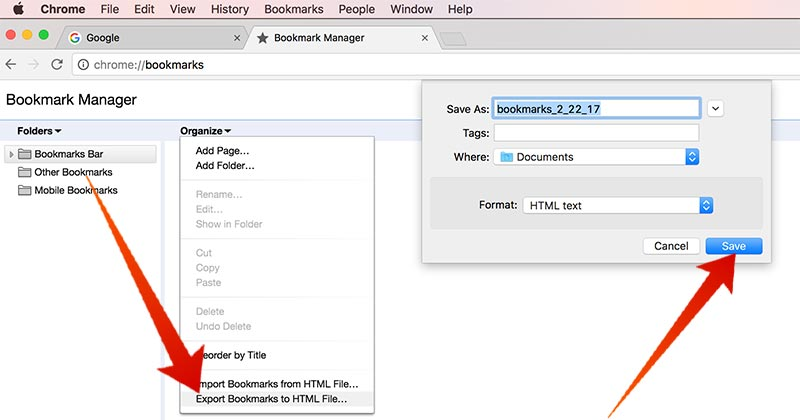 export chrome bookmarks on mac