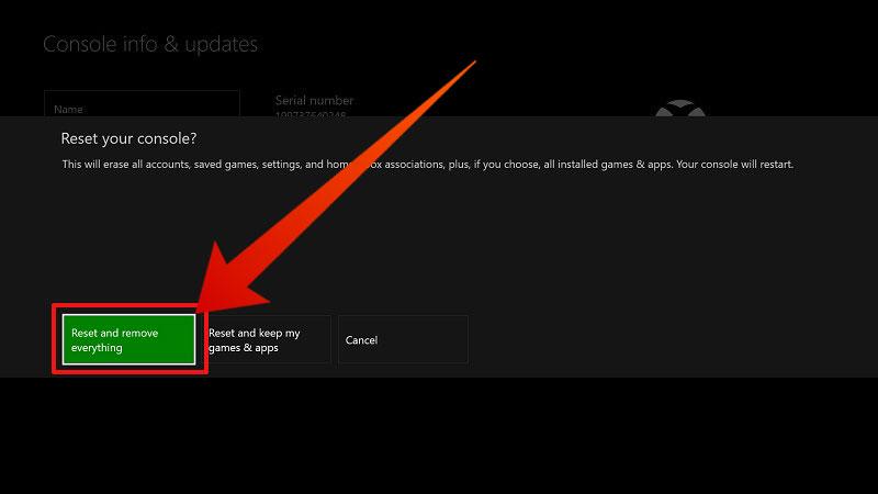factory reset xbox one manually