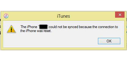 connection was reset itunes error