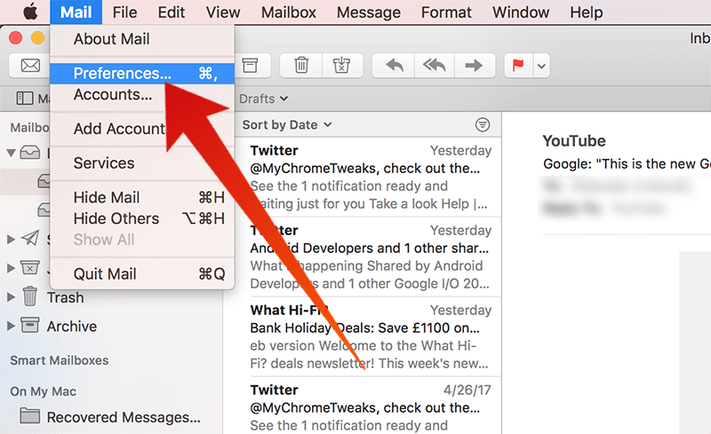 change email client mac