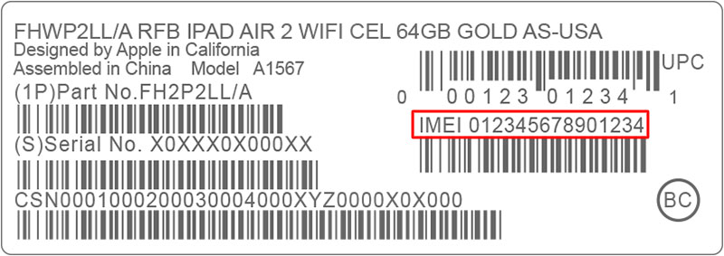 find iphone imei from box