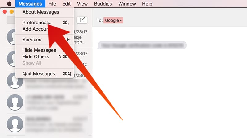 disable messages on mac