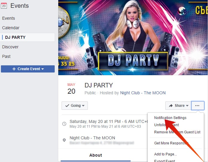 turn off events on facebook