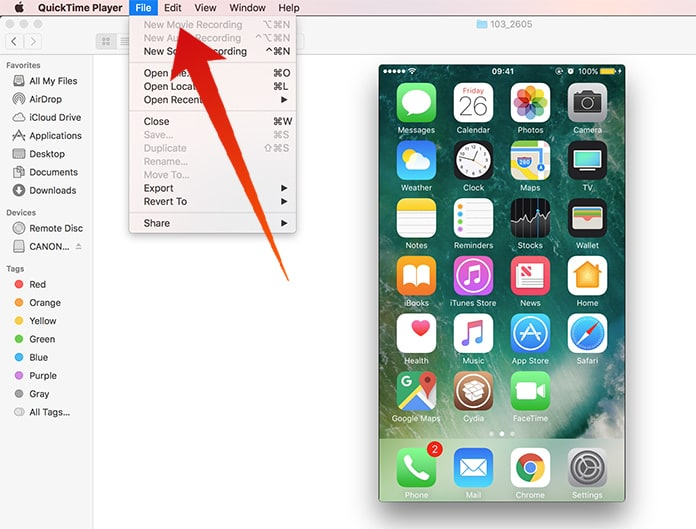 mirror iphone to mac with quicktime