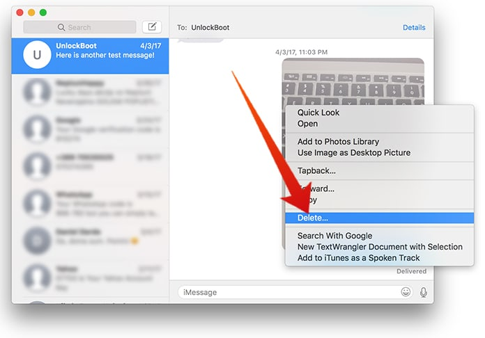 delete text messages from mac
