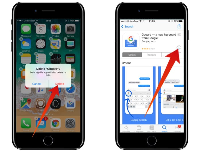 reinstall gboard on iphone