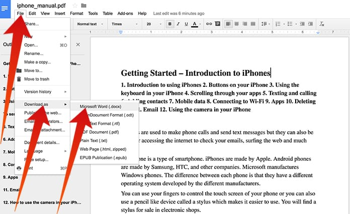 convert pdf to word mac