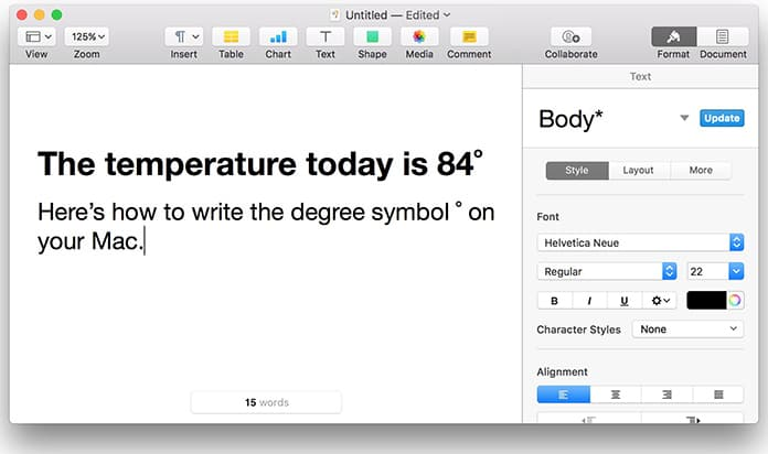how to make degree symbol on mac