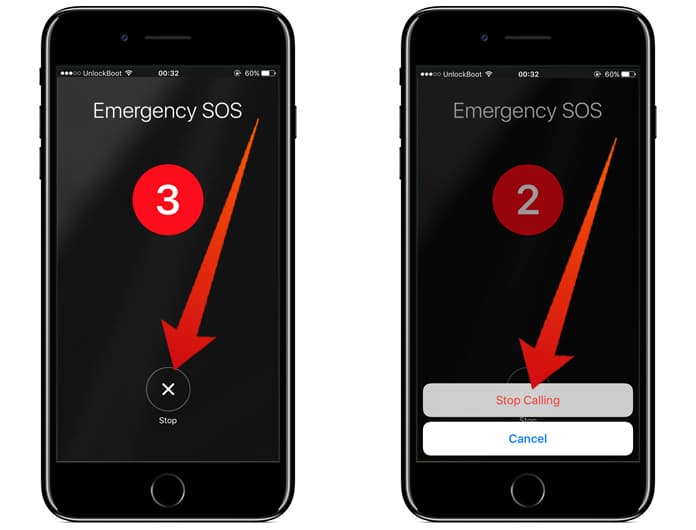 stop emergency call iphone