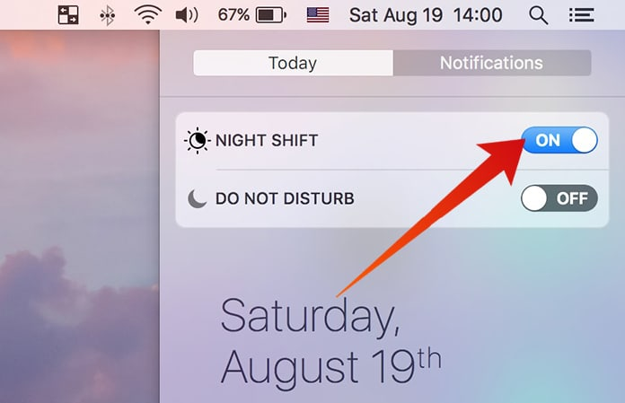 enable night shift on mac