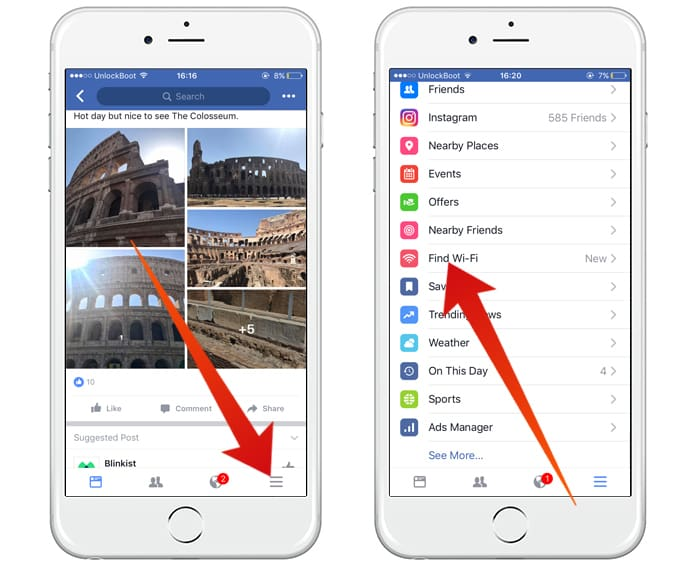 How to find free wifi using facebook app on iphone for Localisation wifi