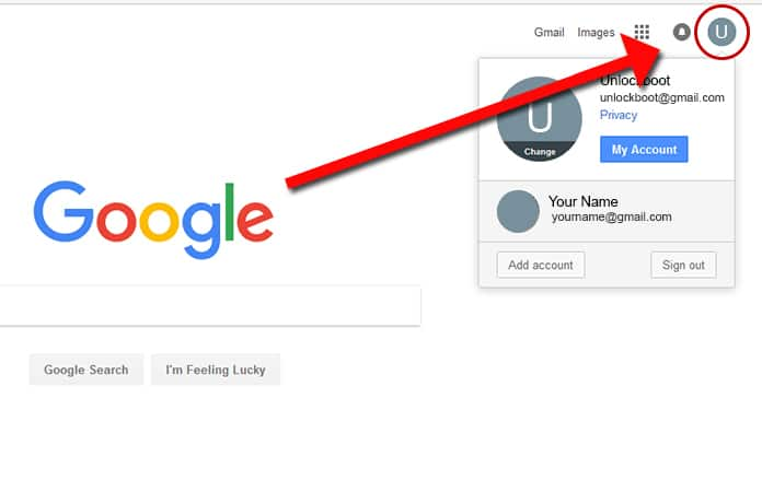 how to make default google account