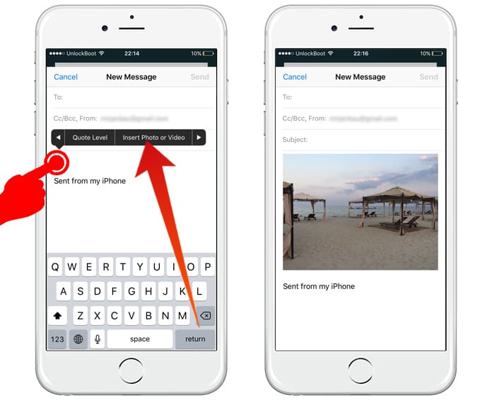 how to attach image to email on iphone