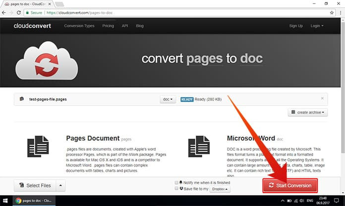 convert pages file to word