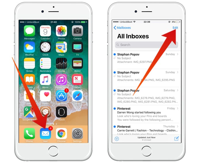 how to mark all emails as read on iphone