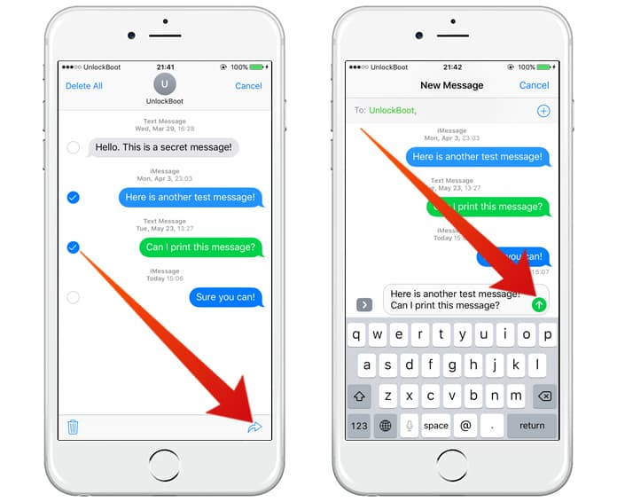 forward text messages on iphone