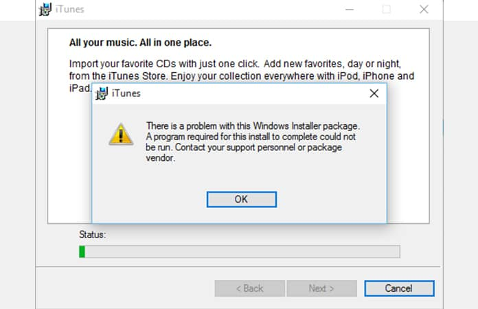 itunes there is a problem with this windows installer package