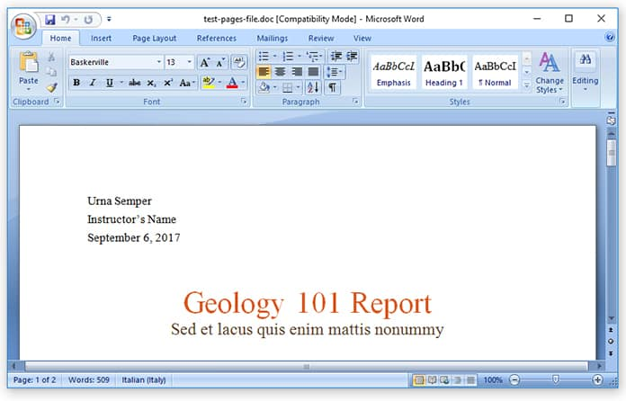 open pages in word