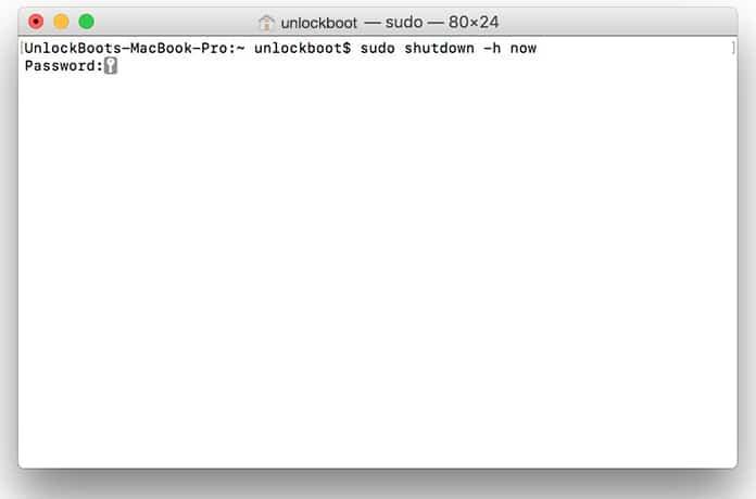 shutdown mac command