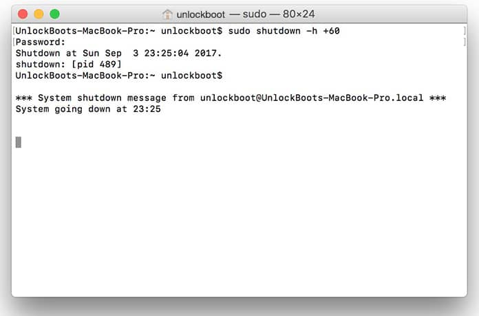 shutdown mac terminal