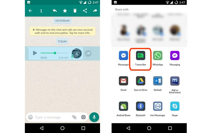 convert whatsapp voice message to text