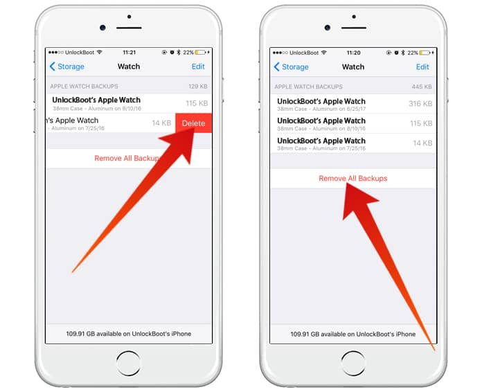how to delete apple watch backups
