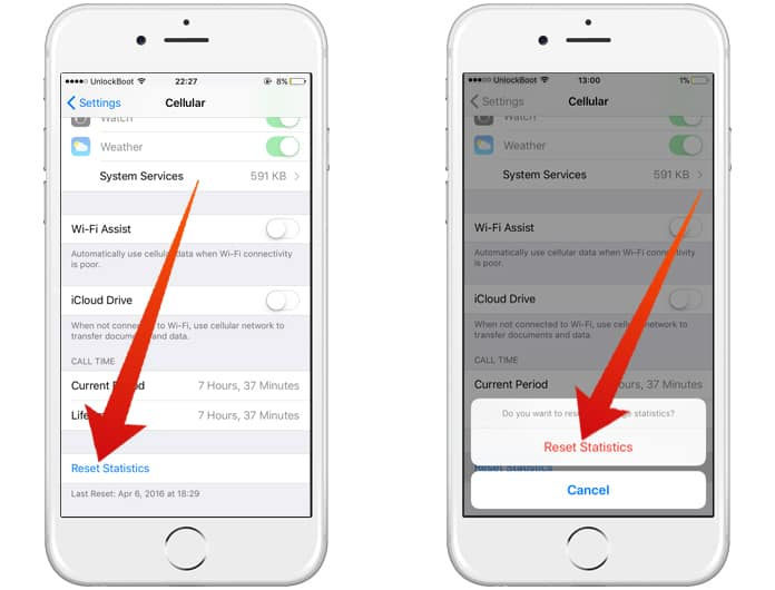reset iphone cellular data usage