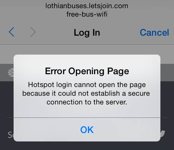 iphone hotspot login error