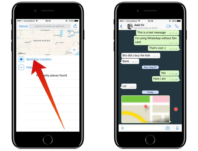 share location on whatsapp from iphone