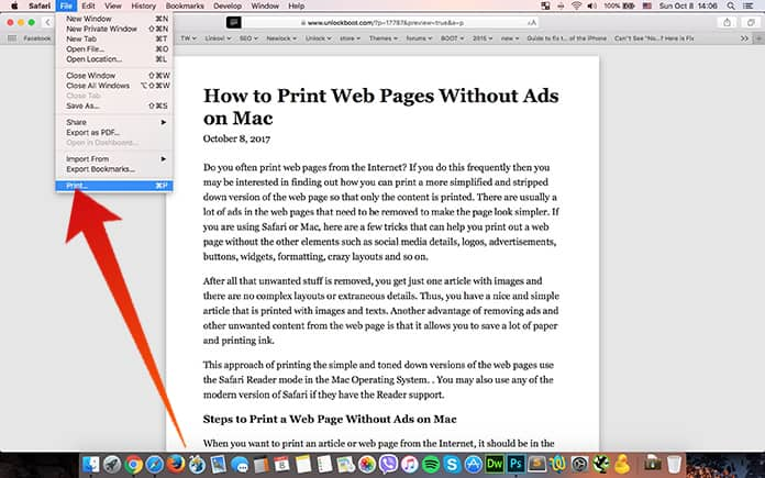 print web pages from safari