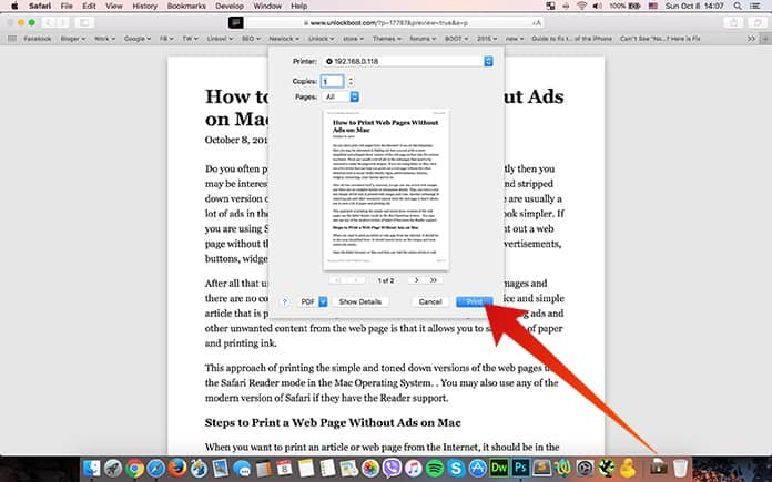print web page without ads