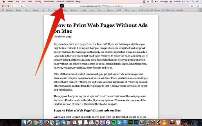 print a web page without ads on mac