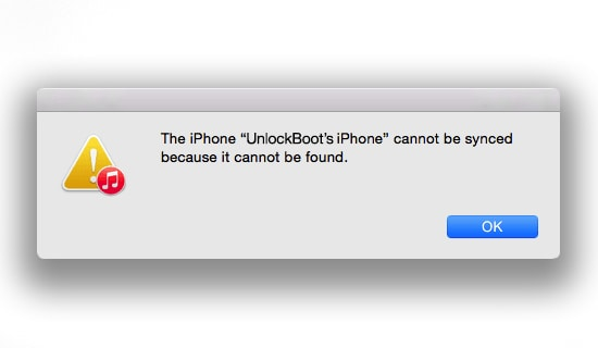 iphone cannot be synced because it cannot be found