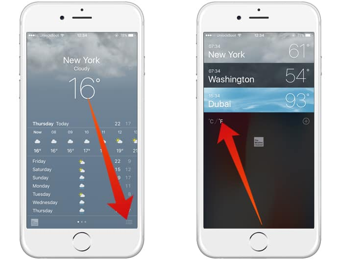 change weather temperature on iphone