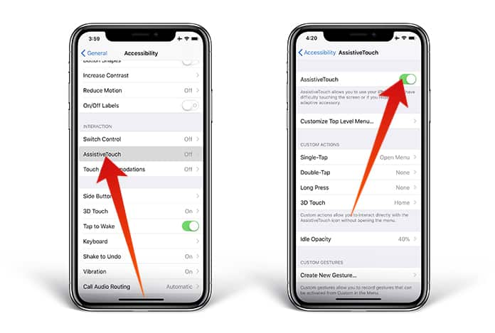 add virtual home button on iphone x