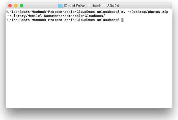 copy to icloud drive via terminal