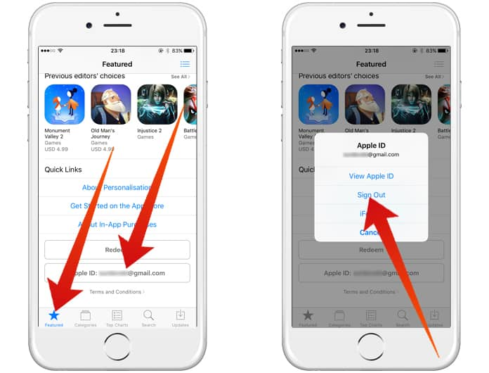remove old apple id from iphone