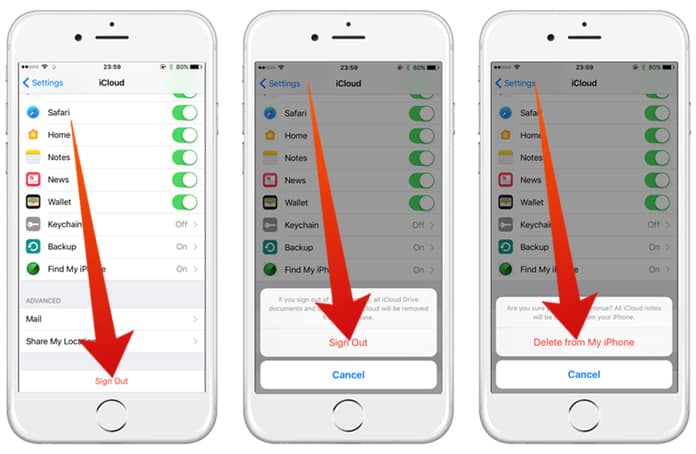 remove icloud account from iphone