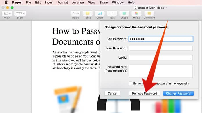 remove password from iwork document
