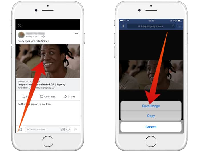 save a gif from facebook on iphone