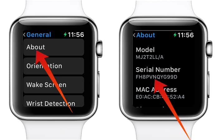 check apple watch serial number