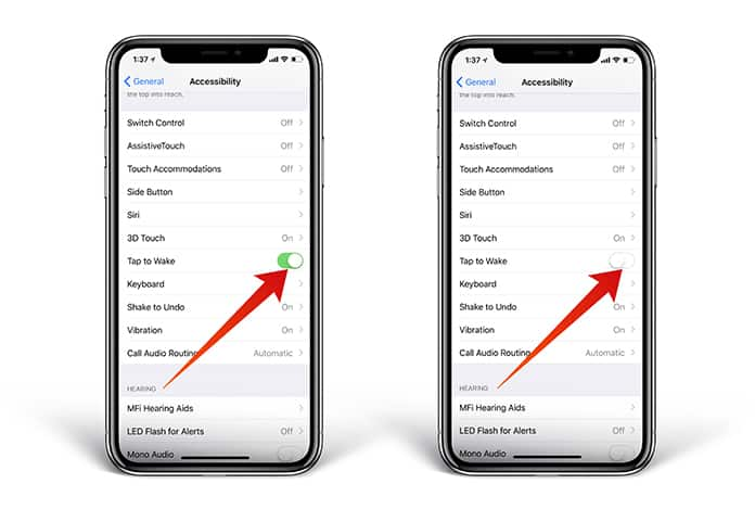iphone x turn off tap to wake