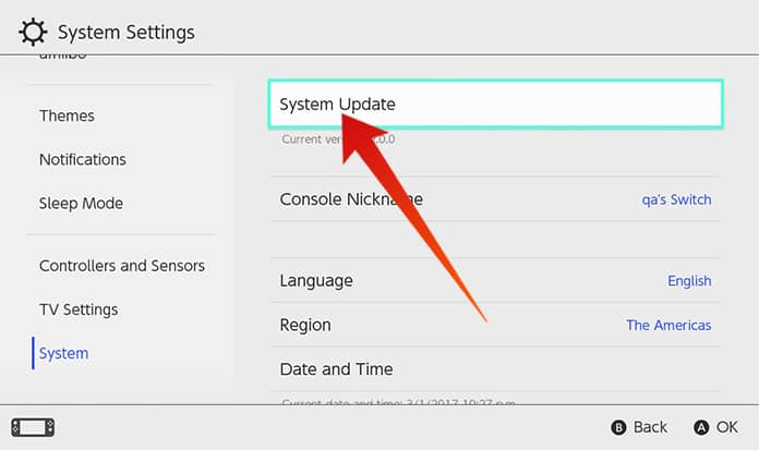 update nintendo switch firmware