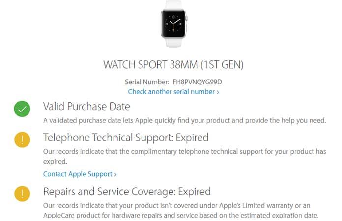check apple watch warranty