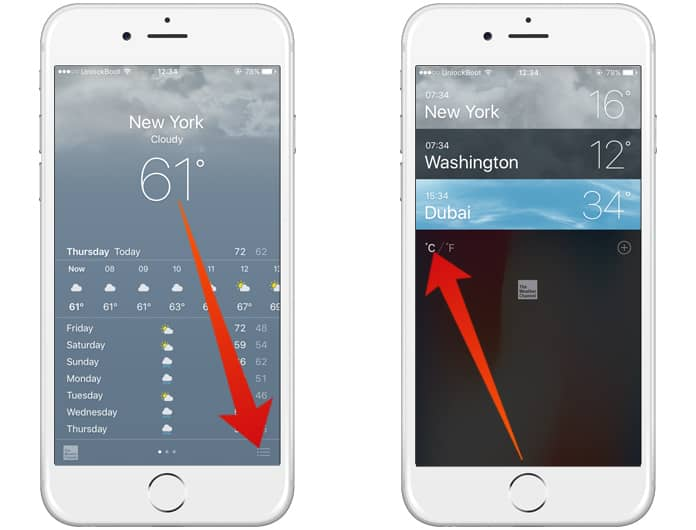 change fahrenheit to celsius on iphone