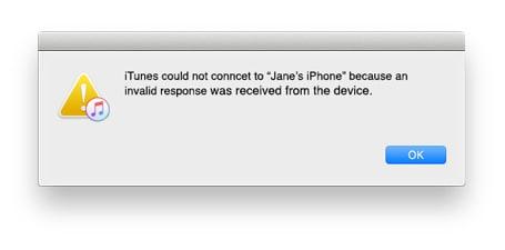 itunes iphone invalid response