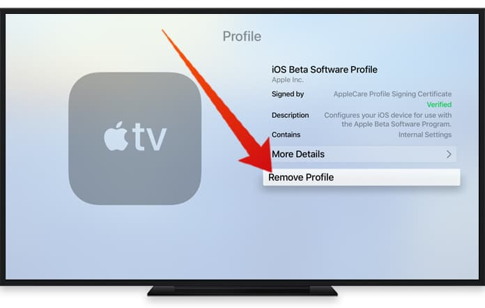 remove update on apple tv