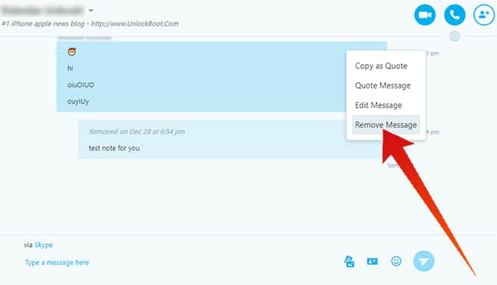 how to delete skype messages