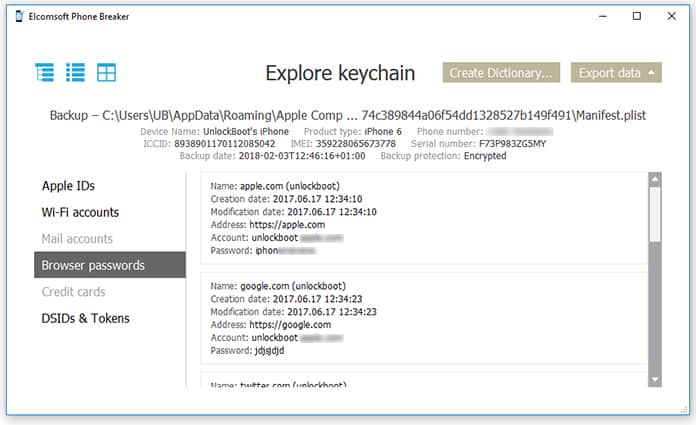 find icloud password in keychain