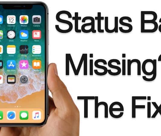 status bar missing on iphone